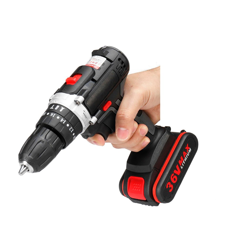 Electric Impact Cordless Drill 3000mAh 36V Clutches Wireless Electric Screwdriver 1/2 Li-ion Battery Home DIY Power ToolsElectric Impact Cordless Drill 3000mAh 36V Clutches Wireless Electric Screwdriver 1/2 Li-ion Battery Home DIY Power Tools