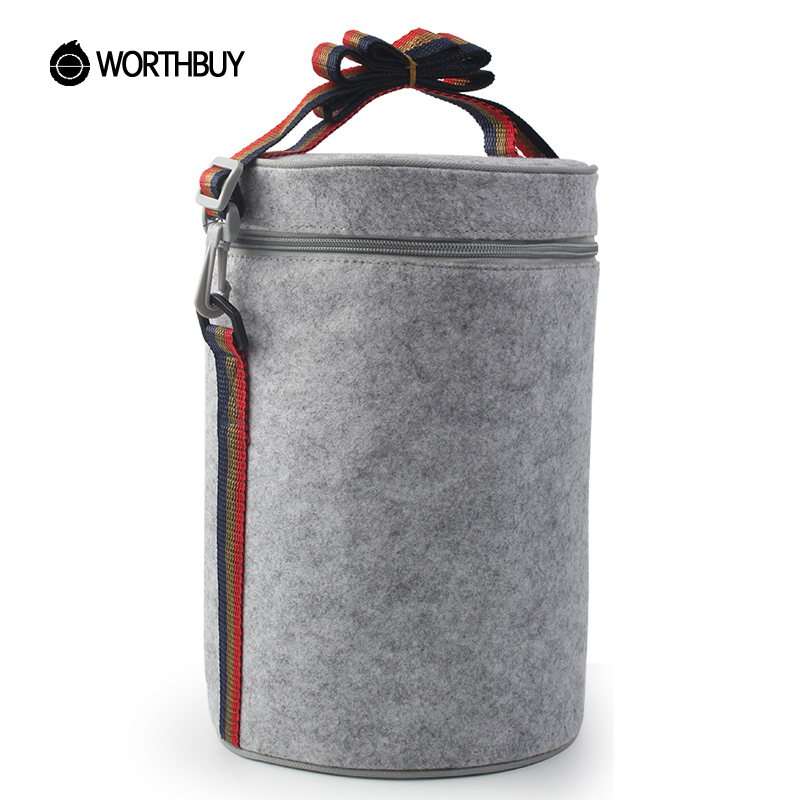 WORTHBUY Portable Thermal Insulated Cooler Lunch Bag Solid Felt Lunch Box Bags Tote With Tinfoil For Women Kids Picnic Camping