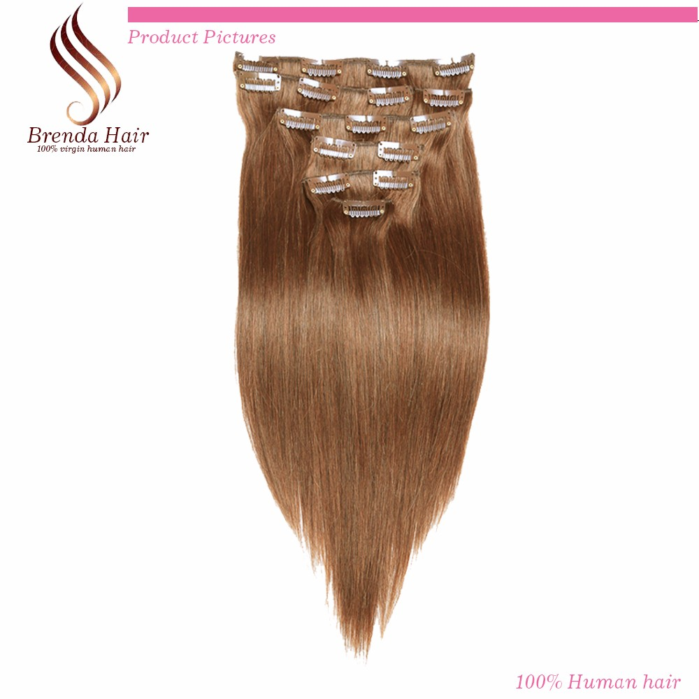 Silky Straight Brazilian Clip in Hair Extensions Human Hair,100% Virgin Hair Extension, 7-10 Pcsset light Brown #4  Clip ins (4)