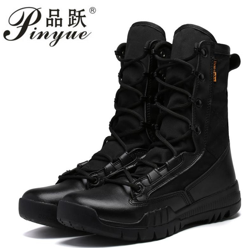 Spring Autumn Men Military Boot Black Breathable Canvas Ultra light Desert Shoes Mens Combat Ankle Tactical
