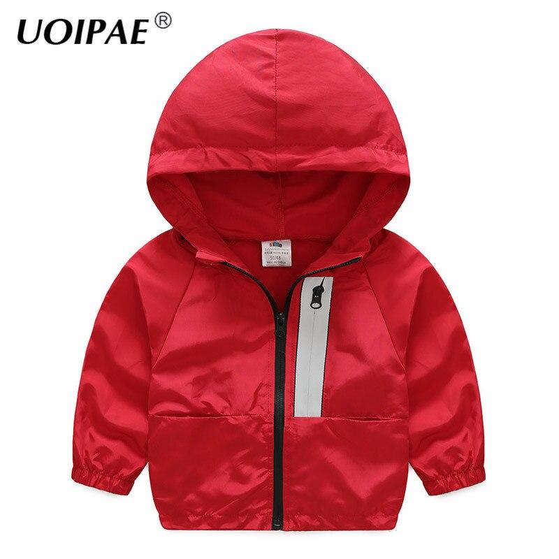 UOIPAE Детский жакет для мальчика осень Повседневное одноцветное Цвет с капюшоном пальто для маленьких мальчиков с длинным рукавом на молнии ...
