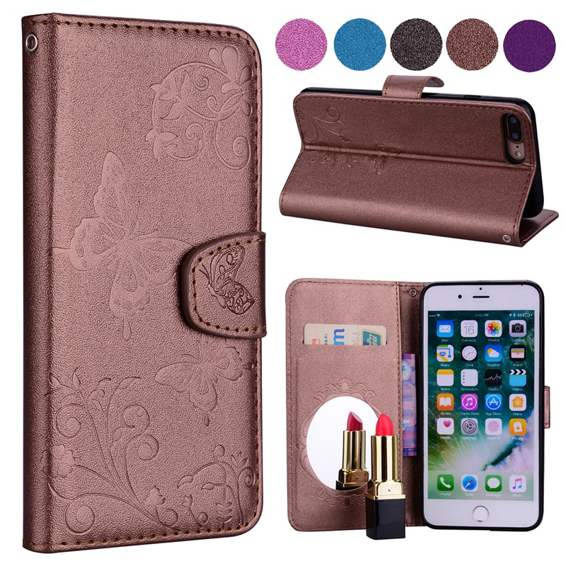 cdf7e04ad45 2018 Butterfly Flower Leather Flip Wallet Case For iPhone 5 5s SE 6 6S 7 8  Plus X Stand Card Holder Lady Makeup Mirror Cover