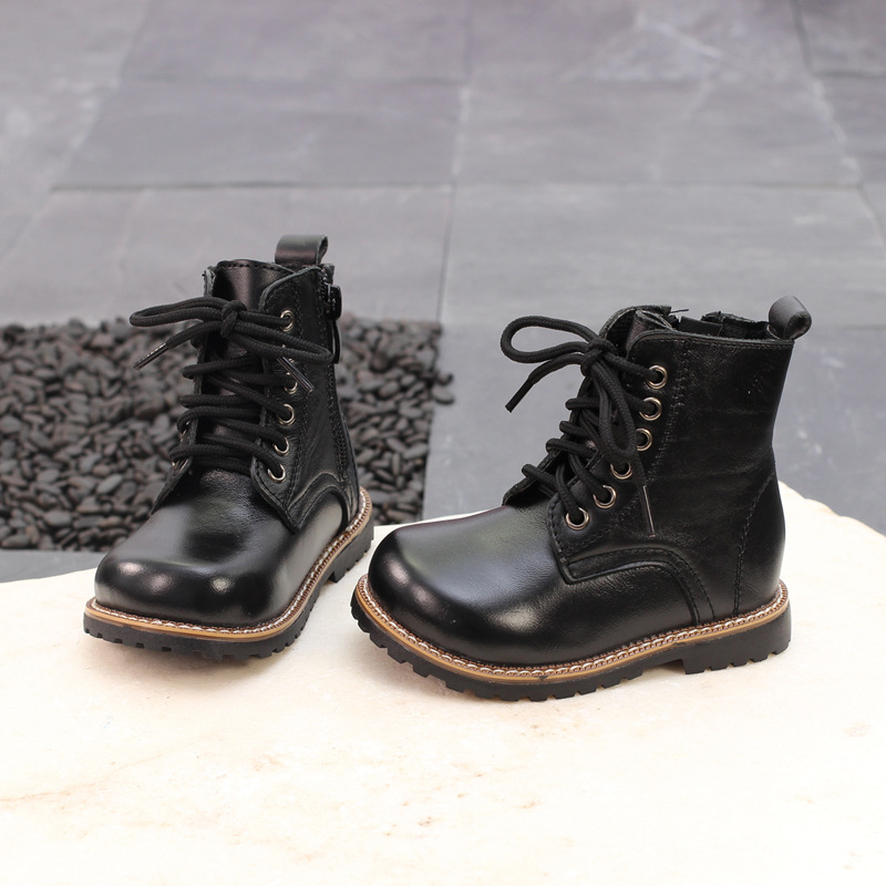 2018 Autumn Winter boys girls genuine leather shoes Snow Waterproof Shoes Martin boots childrens short cattle boots black brown