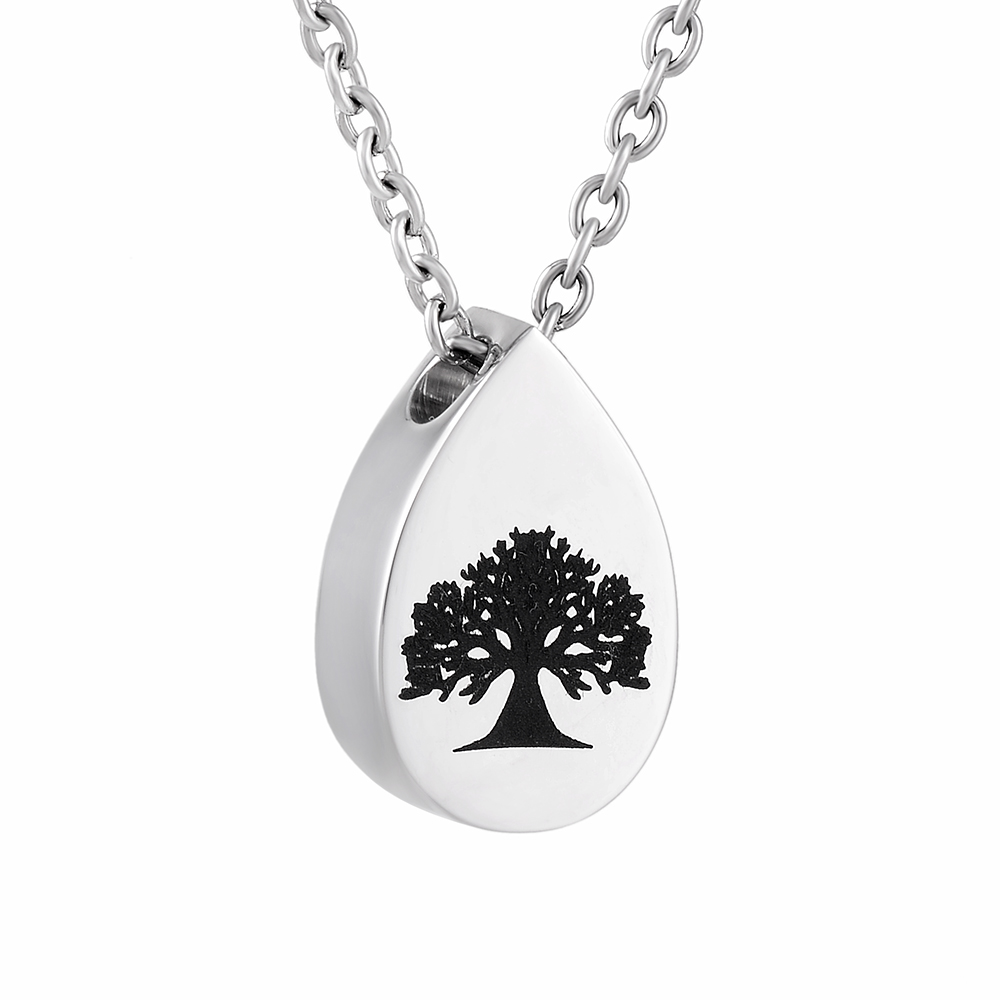 CMJ9808 Tree of Life Mini Teardrop Urn Charm Pendant&Necklace Ashes Keepsake Urns Cremation Jewelry for Women Men