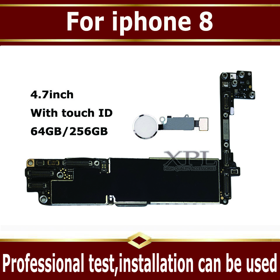 For iPhone 8 Motherboard  Original motherboard With Touch ID Factory Unlocked 64GB 256GB