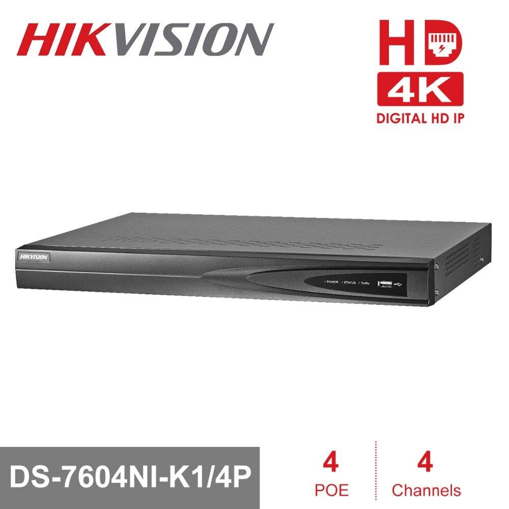 Hikvision 4CH PoE NVR DS-7604NI-K1/4 p 4 Canaux Intégré Jeu de Prise 4 k NVR avec 4 Ports PoE pour Caméra IP Système DE VIDÉOSURVEILLANCE