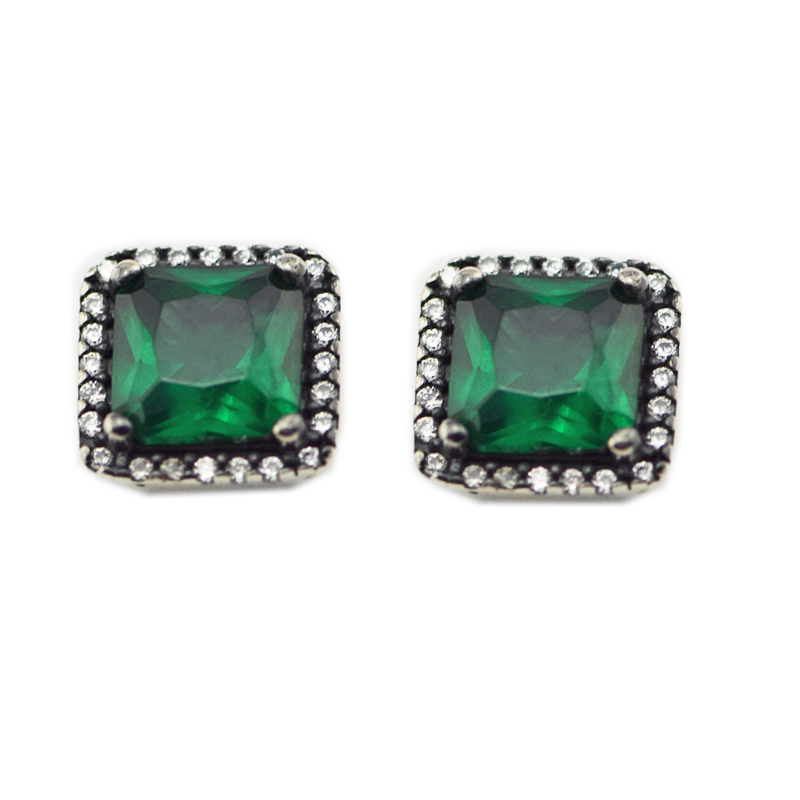 S925 Sterling Silver Jewelry Earrings With Shining Green jewelery Silver Charm Fashion Earrings 2018 Spring New item