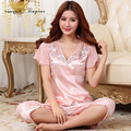 New pajamas elegant floral v neck soft breathable antibacterial silk sleeping pyjamas summer ladies large size pijama with bow
