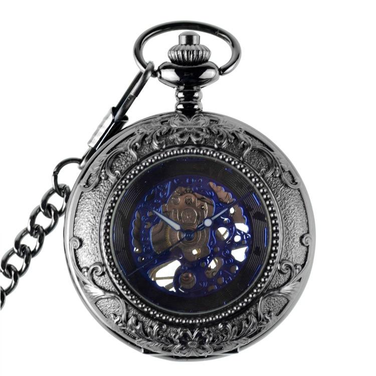 Relógios de Vento Relógios para Mulheres dos Homens Relógio de Bolso Antique Steampunk Bolso Mão Mecânica Pingente Assista Case Azul Presentes & Fob
