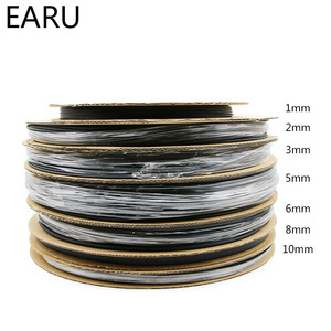 1 рулонная катушка 2:1 черная 1 2 3 5 6 8 10 мм Диаметр Термоусадочная термоусадочная трубка оплетка Wire Sell Разъем DIY ремонт