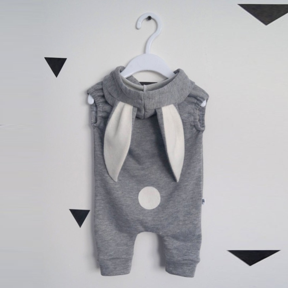 Baby boy and girl romper Gray zipper piece suit with rabbit ear piece cap boys and girls jumpsuit playsuit child 2017 new