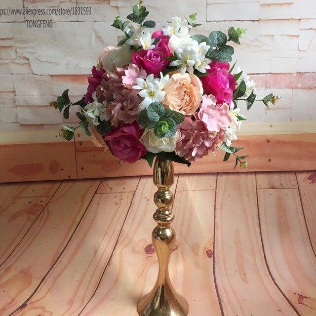 10 pçs/lote Mixcolor casamento estrada chumbo bola flores artificiais tabela peça central do casamento decoração flor bola 30 cm TONGFENG