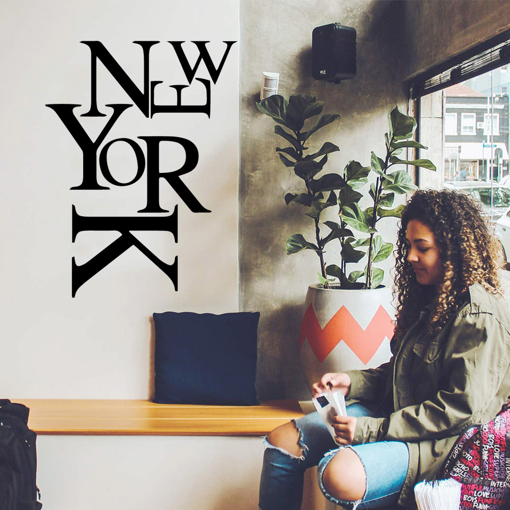 Romantic New York Wall Stickers Home Decor Girls Bedroom Sticker For Children's Room Wall Decoration Murals