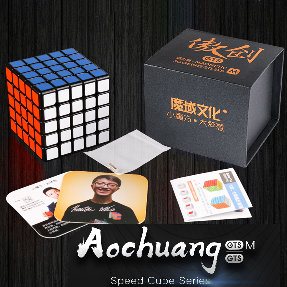 New MoYu Aochuang GTSM 5x5x5 Magnétique Noir/Stickerless Magic Cube Speed Puzzle Cube Jouets Pour enfants