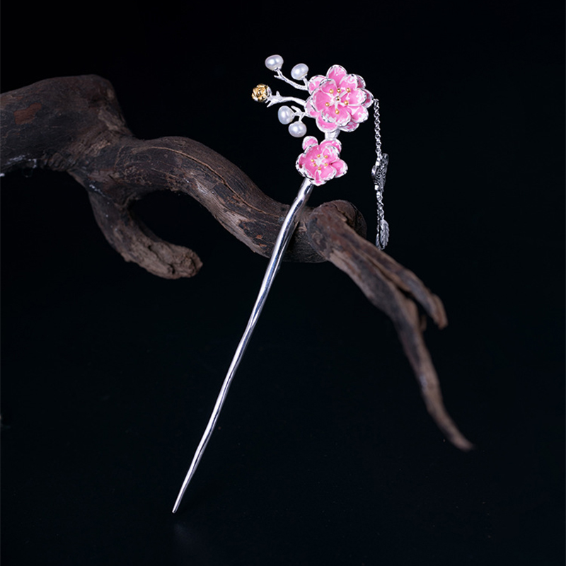 Natural Freshwater Pearl Flower Headdress 100% 925 Sterling Silver Rings For Women Plum Blossom Hairpin Fine Jewelry 2018 Z01 недорго, оригинальная цена