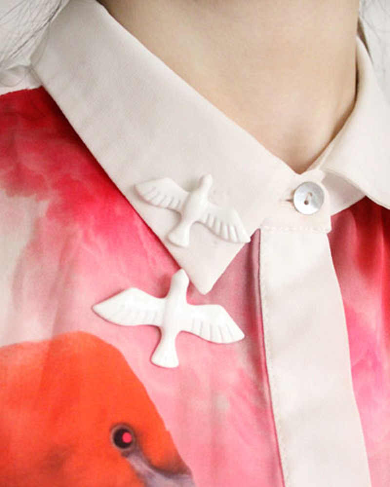 Hot 2019 New Rondine Spilla Acrilico Vintage Bianco Colomba della Pace Animale Uccelli Spilla Spille Gioelleria raffinata e alla moda Accessori Della Ragazza Per Le Donne