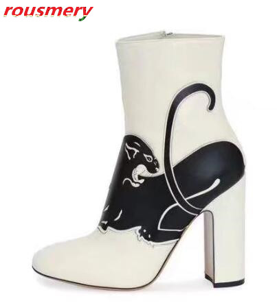 Hot 2017 Fashion Chunky Heels Dress Shoes Woman Round Toe Side Zipper Ankle Boots Fashion Patchwork Animals Print Short Boots riding boots chunky heels platform faux pu leather round toe mid calf boots fashion cross straps 2017 new hot woman shoes