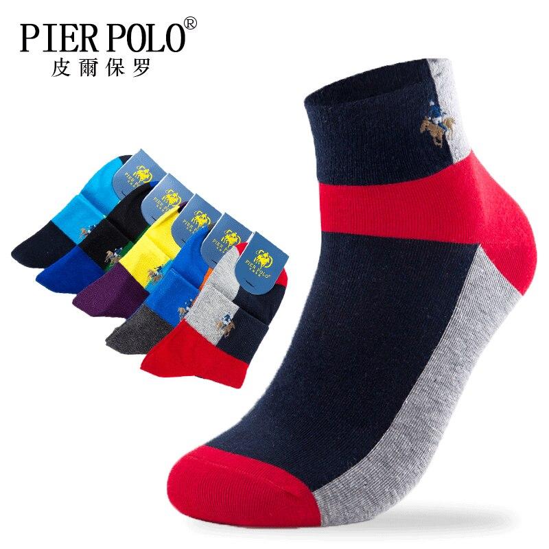 Muelle de POLO de alta calidad Casual de negocios de los hombres calcetines para los hombres de algodón de marca tripulación otoño tobillo calcetines meias homens 5 pares de gran tamaño