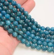 Оптовая продажа бусины из голубого апатита АА 6 мм 8 10 12 круглые