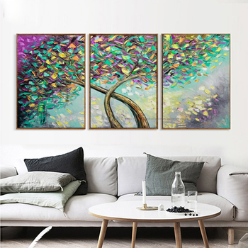 Hand painting Oil on CANVAS 3 piece PALETTE KNIFE Landscape Abstract Art on Canvas Tree Painting amazing modern home decor