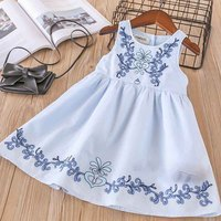 Everweekend Cute Girls Vintage Floral Embroidered Party Dress Candy Blue White Color Ruffles Children Spring Summer