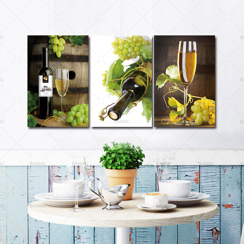 Modern canvas pating wall art print picture home decor for living room 3 PCS Wall Art Fruit Grape Wine Glass Painting