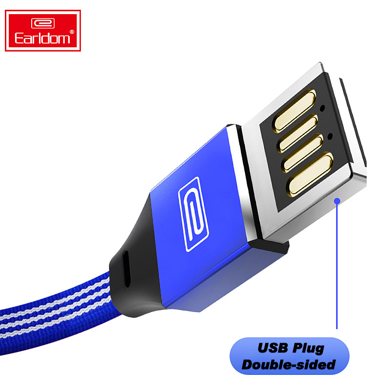 Earldom Reversible  Type C Cable for Samsung Xiaomi Data Usb Iphone 8 6 xs max Phone Micro USB Huawei Cord