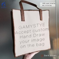 Customize Gift happy Birthday Art Oil Paint Hand Drawing Totes Grain Cowhide Leather Bag Handbag Women Hand bag Genuine Leather