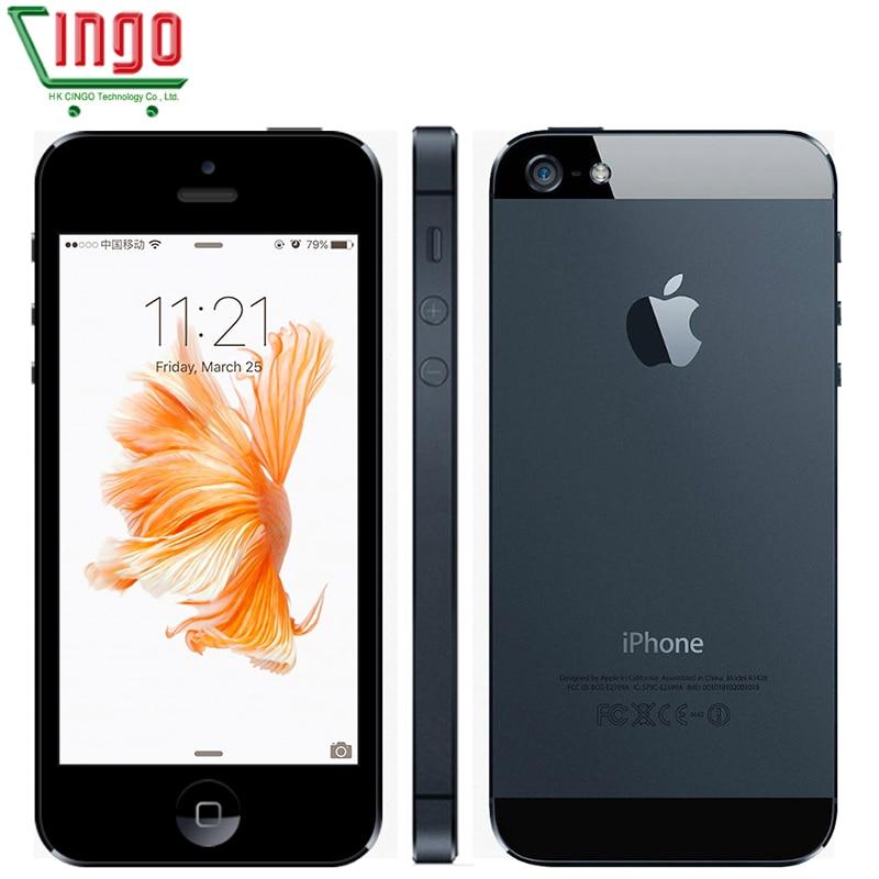 Original apple iphone 5 desbloqueado celular 16 & 32 & 64 gb duplo-núcleo 1 ghz 3g wifi gps 8mp 1080 p 4.0