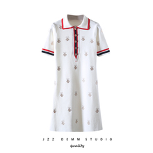 2019 women knitted knee length summer dress New Bee embroidered causal breathable short sleeve polo