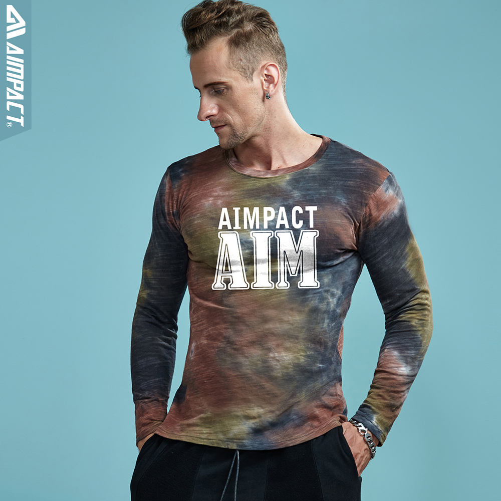 e2e617a300c Aimpact Bamboo Cotton Long Sleeve Dyed Tshirts Men Fashion Slim Fitted Tie  Dye Male Shirts 2018 New Crewneck Tee Jerseys AM3006