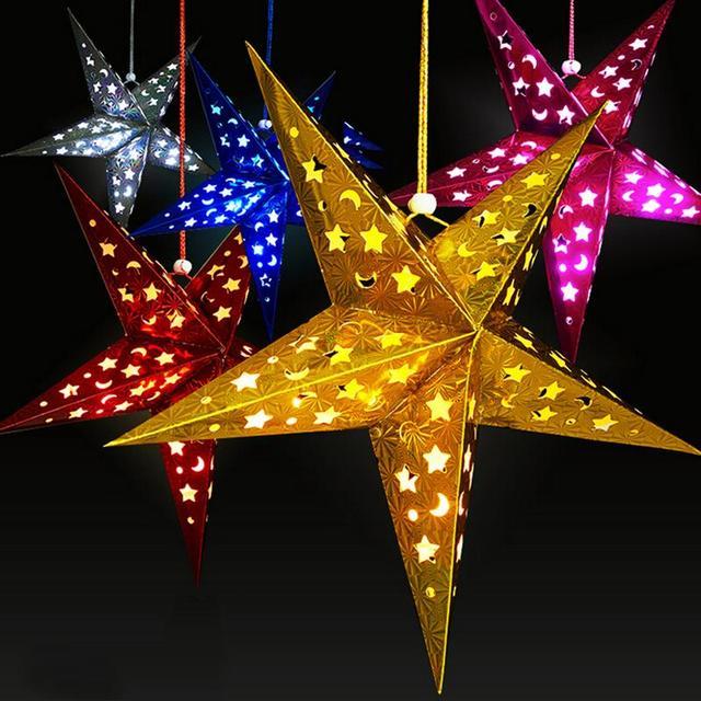 Multicolor Reusable Christmas Decoration 30cm Pentagram Star Hanging Lamp Shade Tree Yard Home Party Decor