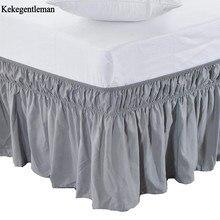 Эластичная одноцветная юбка для кровати, покрывало для кровати без поверхности кровати, покрывало с оборками для королевы/королевы пыли