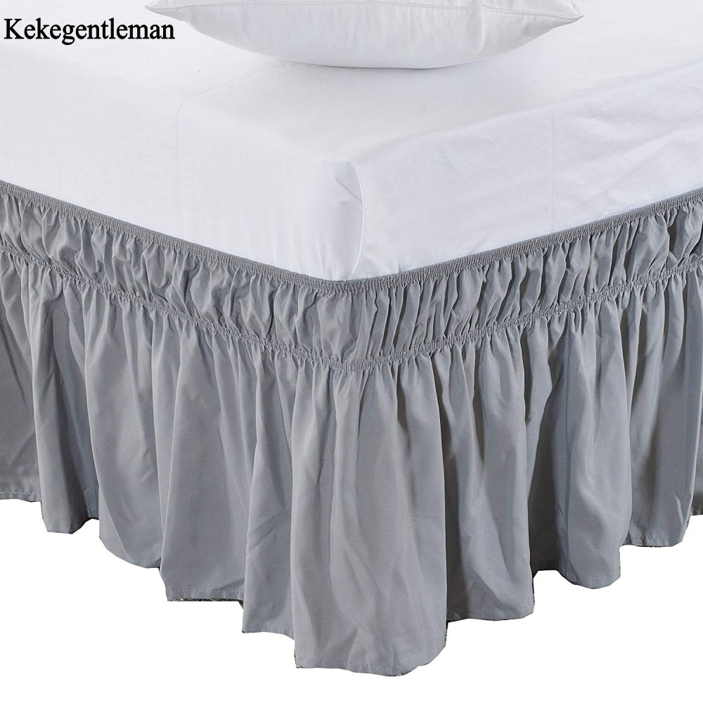Wholesale Bed Skirt Elastic Solid Color Bed Skirts Bed Covers Without Bed Surface Queen/King Dust Ruffle Bedspread Free Shipping