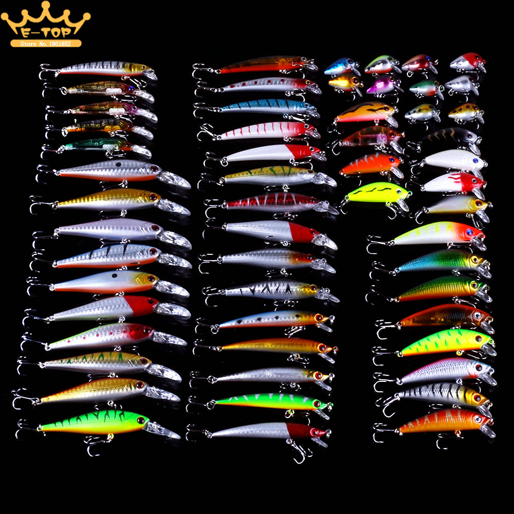 56pcs Mixed <font><b>Fishing</b></font> Lure Bait Set Wobbler Crankbait Swimbait With Treble Hook Minnow Bait Carp Fish Spinners