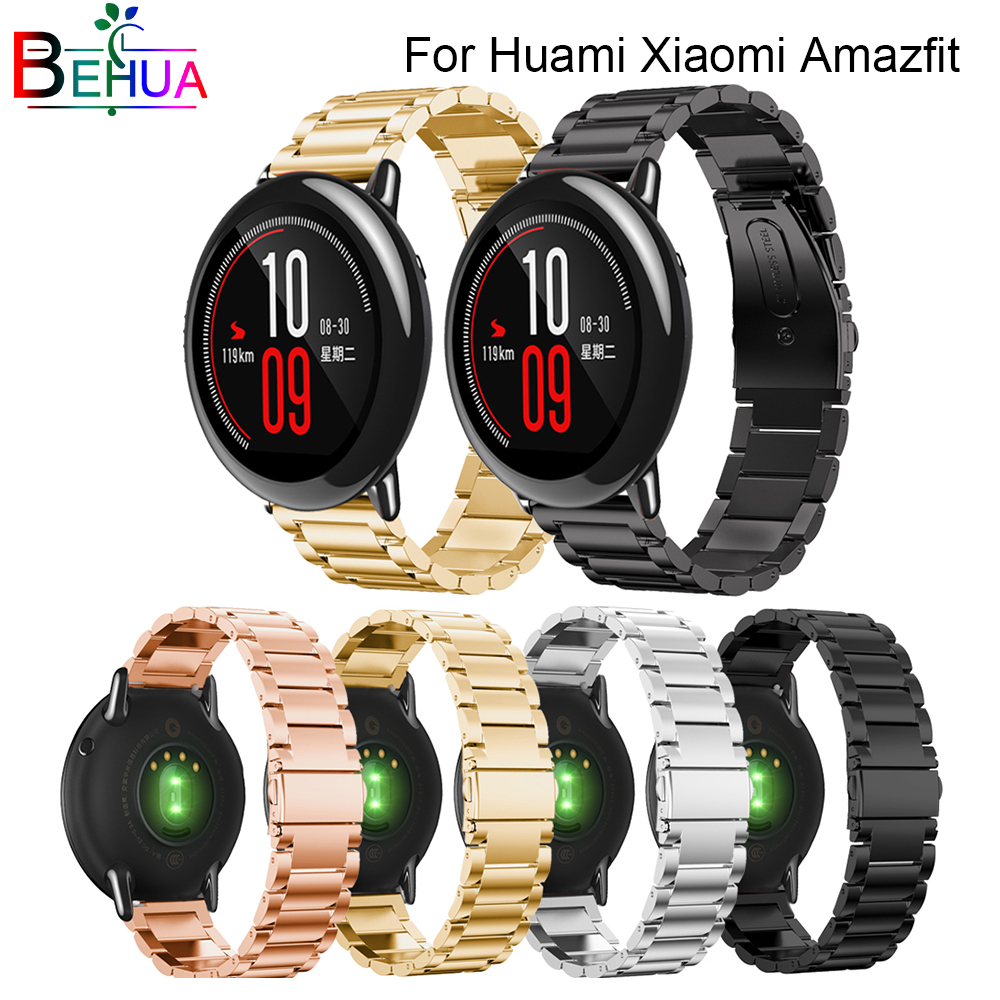 Quality Stainless Steel Replacement Metal Strap Millet for huami Amazfit sport bracelet watch strap Wearable Wrist watch band in Watchbands from Watches