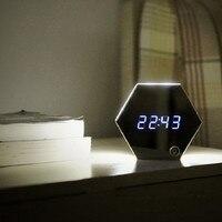 LEDนาฬิกาปลุกDespertador S Aatกระจกมัลติฟังก์ชั่อิ
