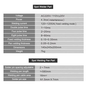 Image 5 - Soldador por puntos con batería de 737G, máquina de soldadura por puntos con luz LED de 4,3 kW con bolígrafo de soldadura para paquete de batería de litio 18650