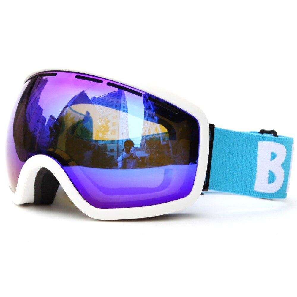 Лыжные очки 100% УФ доказательство двойной слой анти-туман объектив лыжи очки