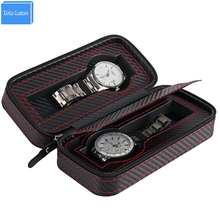 2 Slots Carbon Leather Pocket Portable Zipper Watch Box&Bag, 2018 New Gift Fashion Zippered Storage Case Organizer