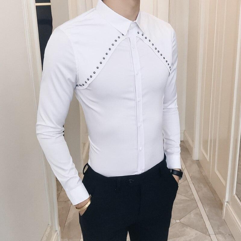 Apprehensive Fashion Rivets Design Men Shirt Autumn New 2018 Solid Slim Fit Tuxedo Shirts Long Sleeve Korean Dress Shirt Male Black/white 3xl Durable Modeling