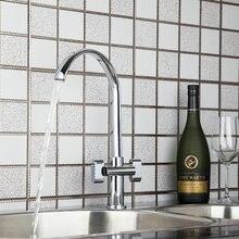 Спрей двойные ручки смесители для кухни torneira Новый вращающийся Chrome 92461 бассейна раковины водопроводной воды смесители судна, смесители