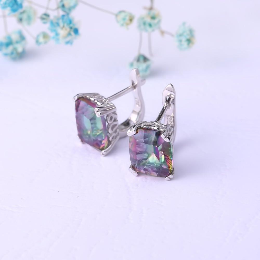 GEM'S BALLET Natural Rainbow Mystic Quartz Ring Stud Earrings For Women 925 Sterling Silver Wedding Jewelry Set Fine Jewelry