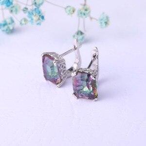 Image 5 - GEMS BALLET pendientes de aro de cuarzo místico arcoíris Natural para mujer, conjunto de joyería de boda de Plata de Ley 925, joyería fina