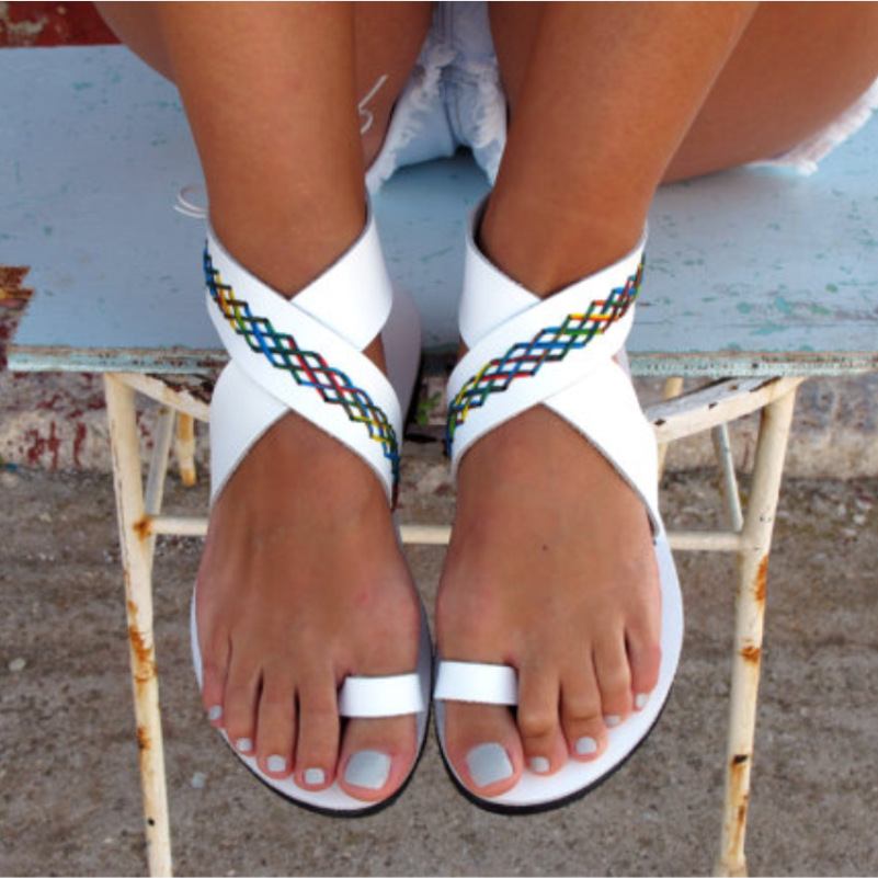 Women Bohemian Sandals Flat Women Gladiator Sandals Women Casual Summer Shoes Female Flat Sandals Plus Size Beach Shoes instantarts women flats emoji face smile pattern summer air mesh beach flat shoes for youth girls mujer casual light sneakers