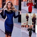 Dress Velvet New Women Celeb Crew Neck Long Sleeve Velvet Lace Party Bodycon Dress