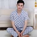 2016 Moderno Queda Primavera Verão Men 100% Algodão Conjuntos de Pijamas de Sleepshirt & Shorts Adulto Sleepwear & Home roupas Plus Size 3XL