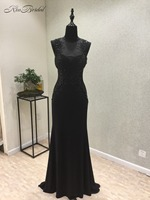 New Black Evening Dress Long 2018 O-Neck Sleeveless moroccan kaftan Floor Length Beaded Chiffon Prom Dresses Formal Gowns