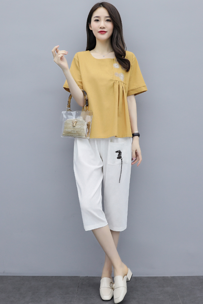 M-3xl Summer Cotton Linen Two Piece Sets Outfits Women Plus Size Embroidery Tops And Cropped Pants Suits Vintage Casual Sets 40