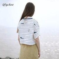 Fashion Summer T Shirts Harajuku Whale Printed Striped T Shirts Short Sleeve Shirt Crop Tops T